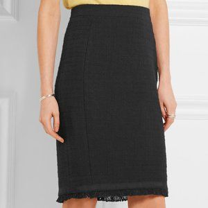 J. Crew Tall Tweed Pencil Skirt With Fringe Black